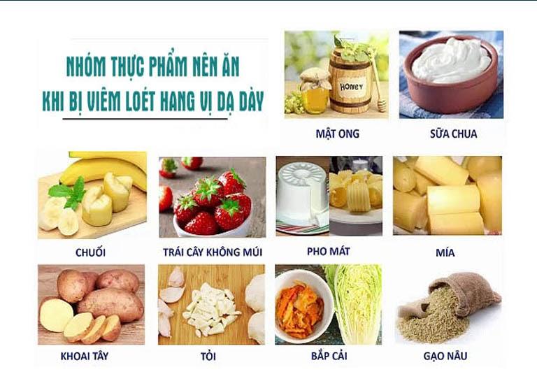 Nhóm thực phẩm người bệnh viêm loét hang vị nên ăn