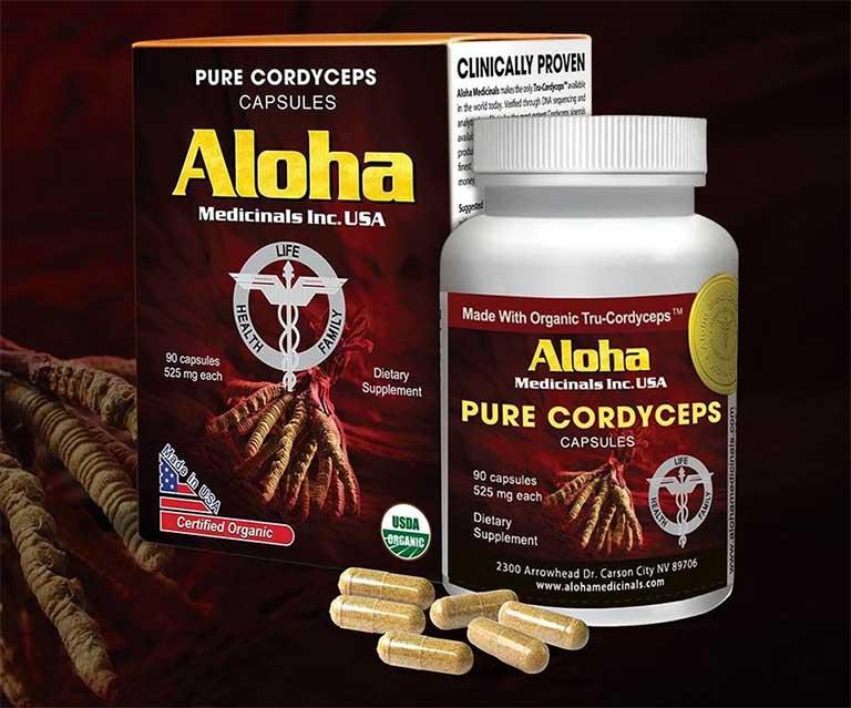 Viên uống đông trùng hạ thảo Aloha của Mỹ được chiết xuất 100% đông trùng hạ thảo thiên nhiên