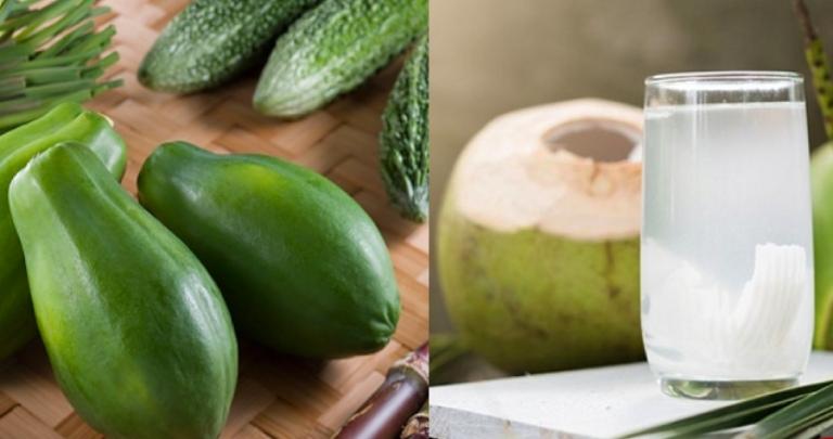 Trị gút bằng cách dùng kết hợp đu đủ xanh và nước dừa tươi