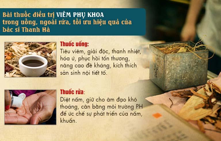 Một số trường hợp đau bụng kinh do viêm nhiễm Phụ khoa được bác sĩ Hà áp dụng điều trị tác động kép, trong uống ngoài rửa