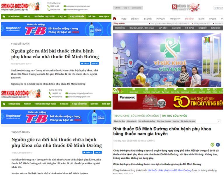 Một số trang báo đưa tin về bài thuốc Phụ Khang Đỗ Minh