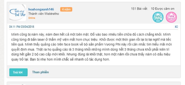 Phản hồi của người dùng về bộ Vương Phi trị nám