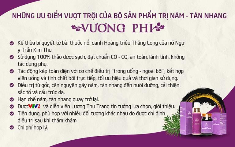Bộ sản phẩm Nám Tàn nhang Vương Phi và một số ưu điểm nổi bật khác