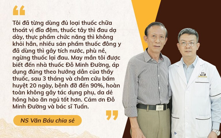 NSƯT Văn Báu đánh giá cao hiệu quả chữa thoát vị đĩa đệm của Đỗ Minh Đường