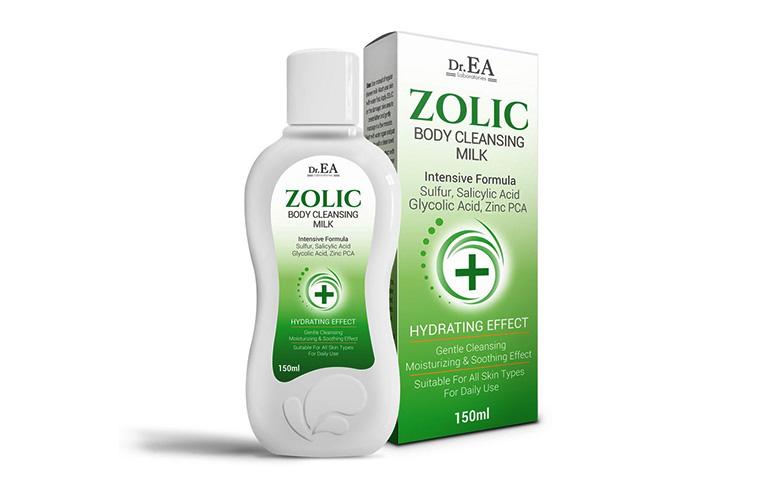 Sữa tắm Dr EA Zolic vừa có tác dụng trị dày sừng nang lông vừa giúp loại bỏ mụn xuất hiện nhiều ở lưng