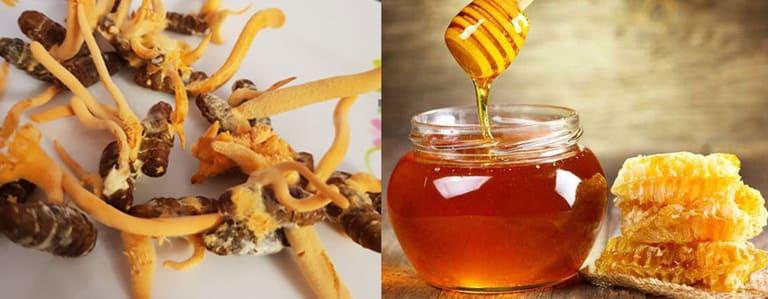 Đông trùng hạ thảo hấp với mật ong hoặc đường phèn có tính kháng khuẩn cao và có nhiều dưỡng chất, ngọt, dễ ăn