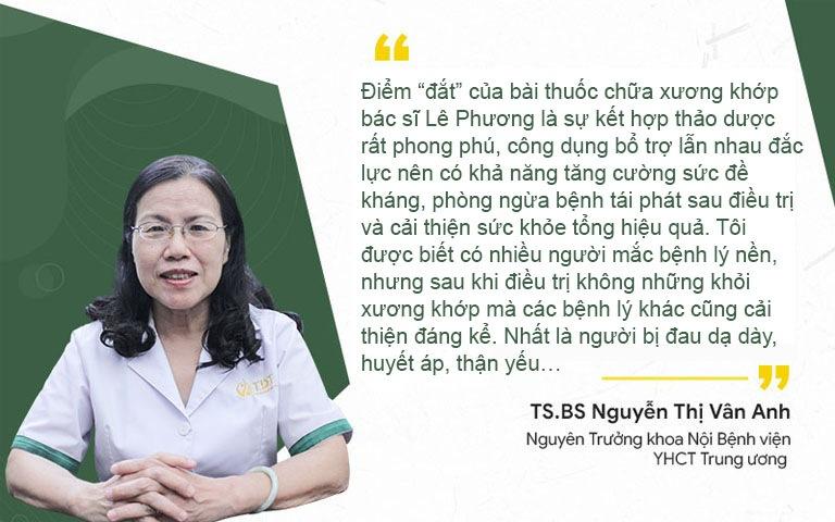 TS.BS Nguyễn Thị Vân Anh nhận định về hiệu quả bài thuốc chữa xương khớp của bác sĩ Lê Phương
