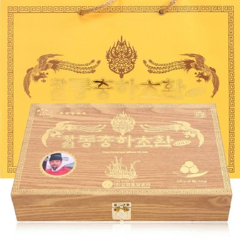 Royal Cordyceps Militaris Pill Gold Kanghwa - Sản phẩm đông trùng hạ thảo hộp gỗ đen dạng viên.