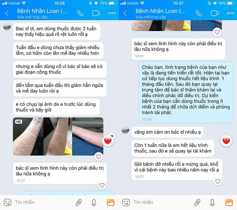 Phản hồi của người bệnh mề đay qua tin nhắn