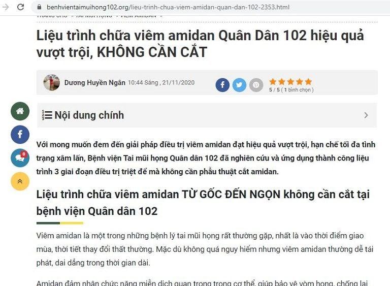 Bệnh viện Tai Mũi Họn Quân Dân tự nhận định về giải pháp điều trị viêm amidan