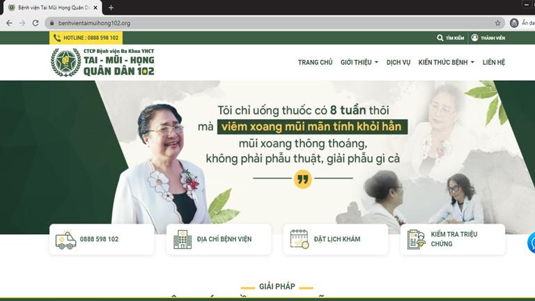Trang web của Bệnh viện Tai Mũi Họng Quân dân 102