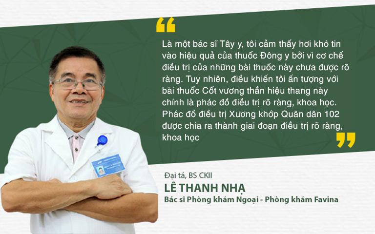 Đại tá, BSCKII Lê Thanh Nhạ nhận định về phác đồ điều trị Xương khớp Quân dân 102