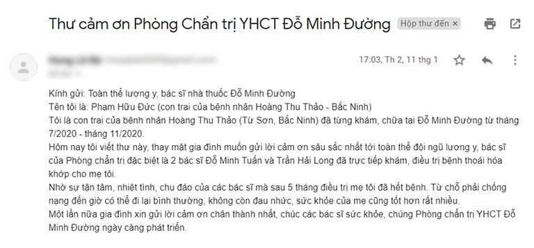 Thư cảm ơn từ gia đình cô Thảo gửi tới phòng chẩn trị Đỗ Minh Đường (ảnh chụp màn hình mail)