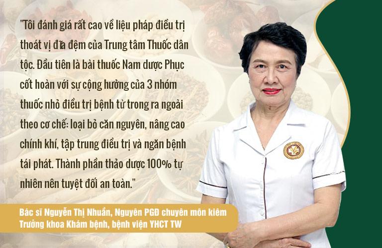 Đánh giá của bác sĩ Nguyễn Thị Nhuần về phác đồ điều trị thoát vị đĩa đệm tại Trung tâm Thuốc dân tộc