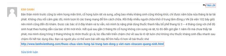 Một bệnh nhân để lại phản hồi tích cực về bài thuốc của Bệnh viện Tai Mũi Họng Quân dân 102