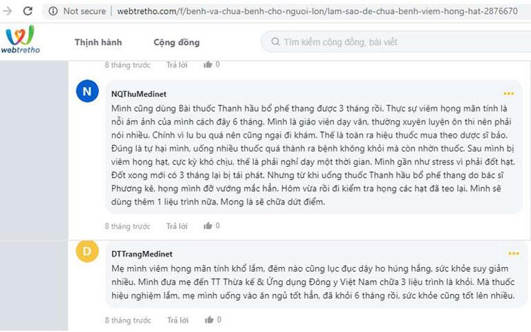 Rất nhiều bình luận khen ngợi bài thuốc Thanh hầu Bổ phế thang