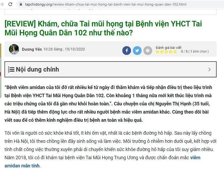 """Giải pháp trị viêm amidan Quân Dân 102 được  """"khen"""" trên tapchidongy"""