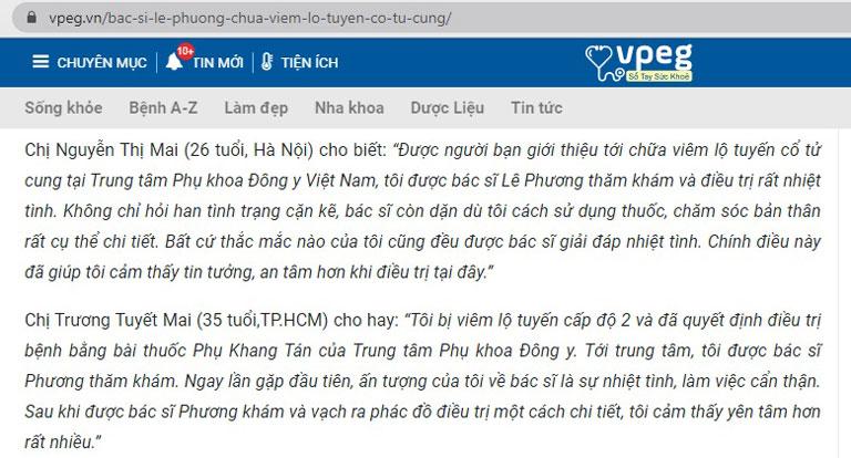 Nhiều người bệnh để lại phản hồi rất tốt về bác sĩ Lê Phương