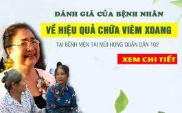 [CHIA SẺ THẬT] Đánh giá của các bệnh nhân chữa viêm xoang tại Bệnh viện Tai mũi họng Quân Dân 102