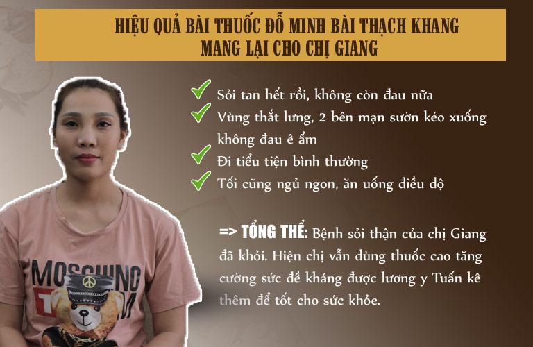 Chị Giang đã tin tưởng lựa chọn bài thuốc Đỗ Minh Bài Thạch Khang