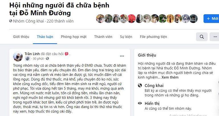 Bài đăng của người bệnh có tài khoản Trần Linh phản hồi về bài thuốc