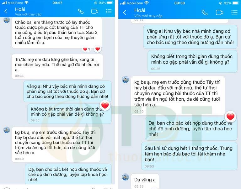 Người nhà bệnh nhân gửi tin nhắn phản hồi tốt về bài thuốc
