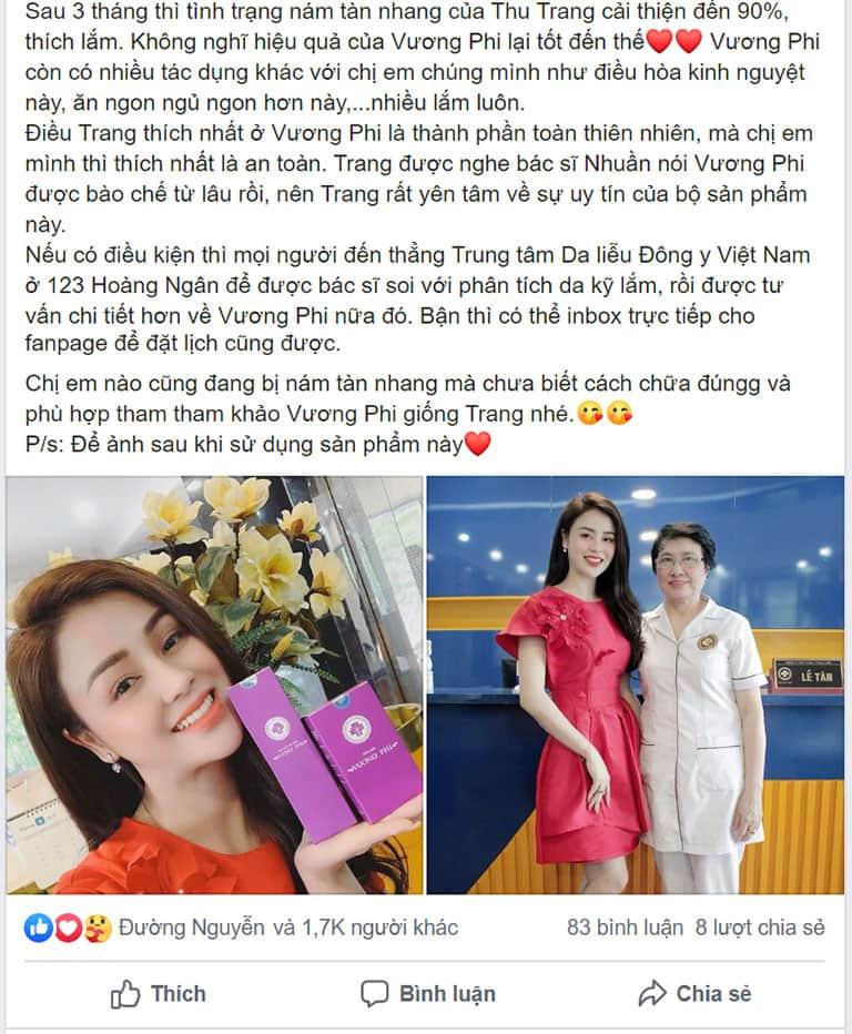 Chia sẻ chân thực của diễn viên Thu Trang về hiệu quả của Bộ sản phẩm Vương Phi