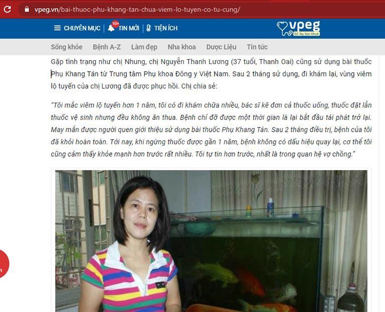 Chị Thanh Lương chia sẻ kết quả điều trị viêm lộ tuyến tại Trung tâm Phụ Khoa Đông y Việt Nam