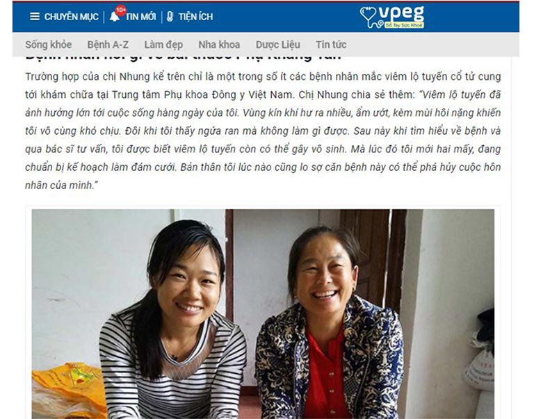 Phản hồi của chị Hồng Nhung sau khi điều trị viêm lộ tuyến tại Trung tâm Phụ Khoa Đông y Việt Nam