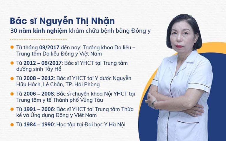 Bác sĩ Nguyễn Thị Nhặn - Trưởng khoa Da liễu Viện Da liễu Hà Nội - Sài Gòn
