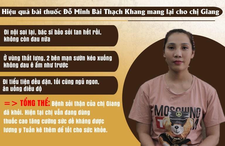 Kết quả điều trị bệnh sỏi thận của chị Giang tại nhà thuốc Đỗ Minh Đường