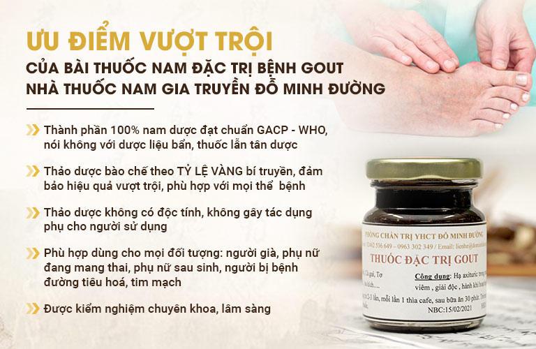 Ưu điểm của bài thuốc chữa bệnh gút của Đỗ Minh Đường