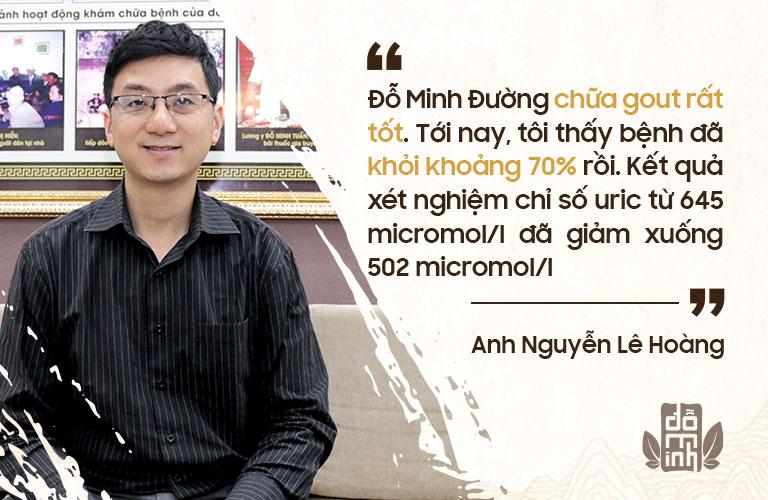 Chia sẻ của anh Nguyễn Lê Hoàng về hiệu quả bài thuốc Gout Đỗ Minh