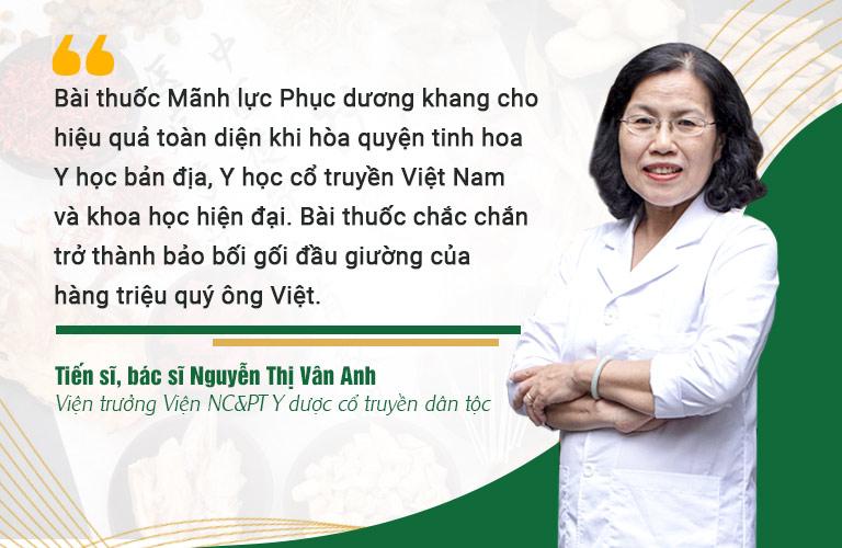 Bác sĩ Nguyễn Thị Vân Anh đánh giá cao hiệu quả của bài thuốc