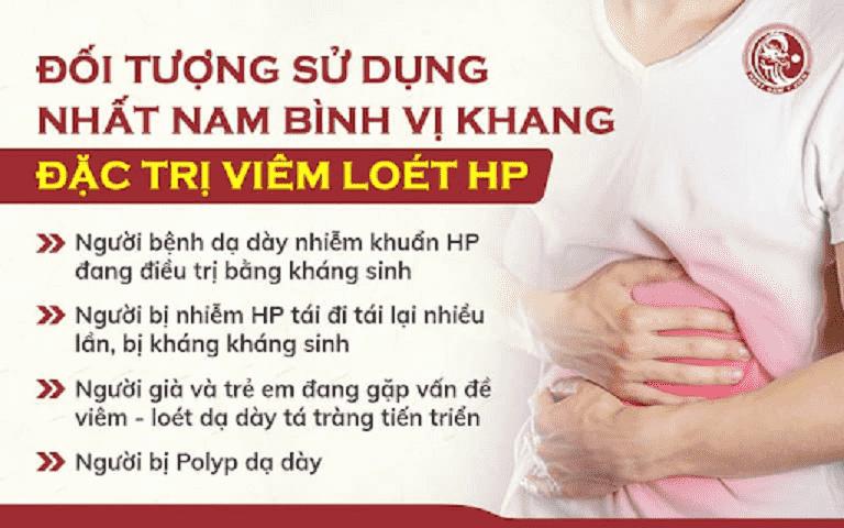 Những đối tượng sau đây có thể sử dụng bài thuốc Nhất Nam Bình Vị Khang đặc trị bệnh viêm loét Hp dạ dày