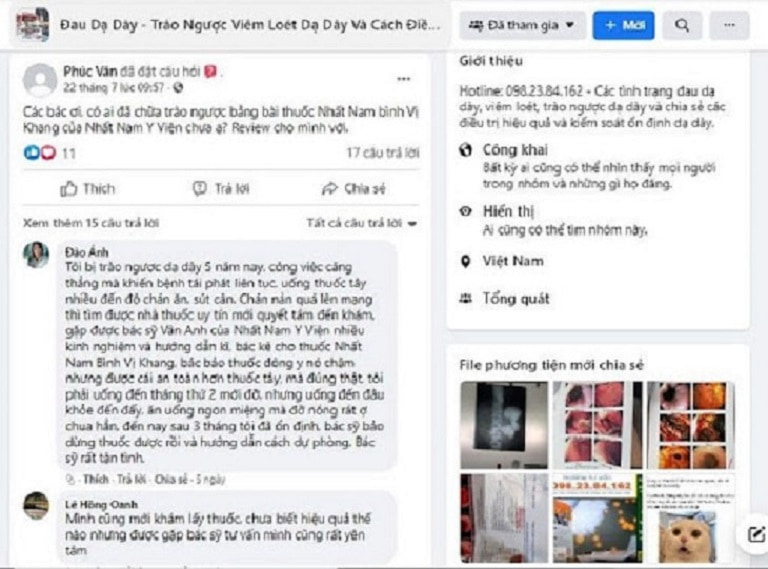 Khách hàng Đào Ánh chia sẻ khi được bác sĩ Vân Anh điều trị trài ngược dạ dày